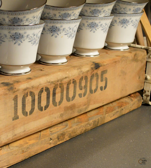 free salvaged wood tea cup display
