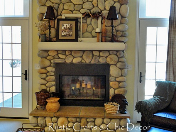 rustic vintage fireplace mantel