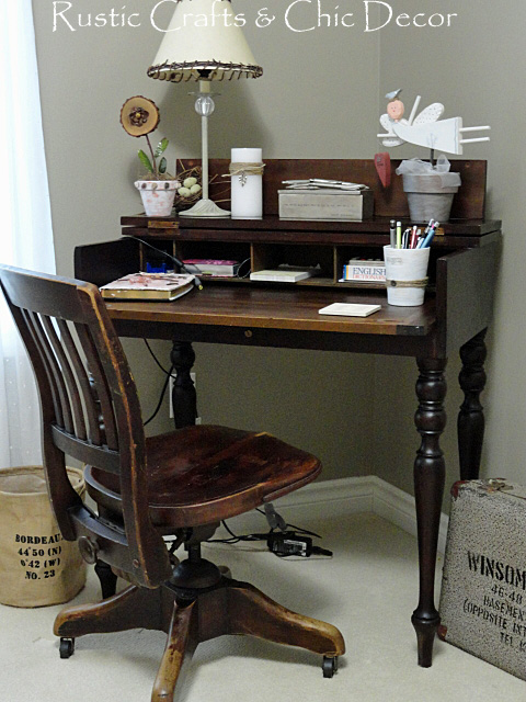 My New Vintage Desk Set For A Shabby Chic Office Rustic