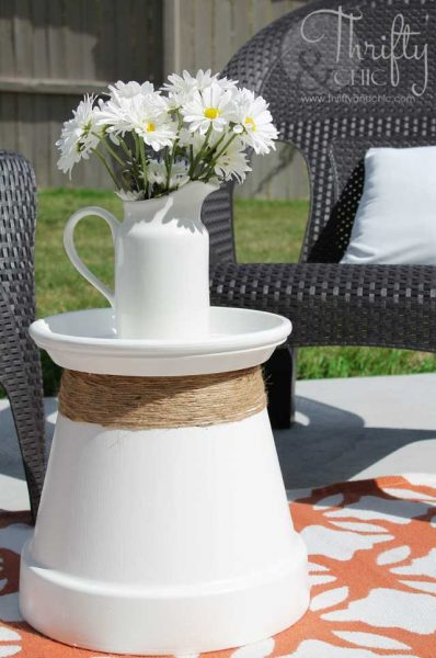 terracotta pot accent table diy
