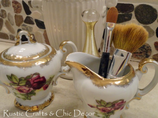 vintage creamer and sugar set for bathroom storage