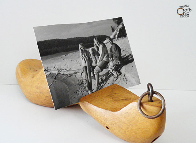 vintage wooden shoe form - photo display