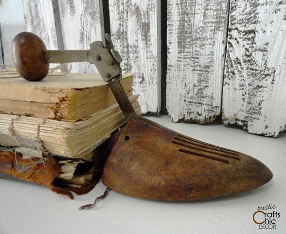 vintage wooden shoe form bookend