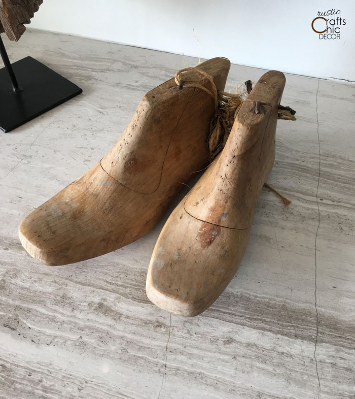 vintage wooden shoe form display