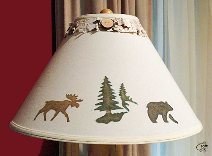 diy lampshade with birch bark