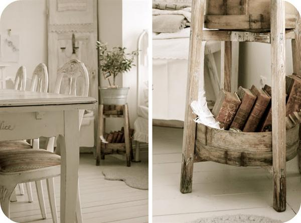 shabby chic decorating with old books