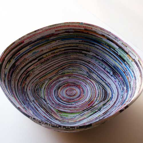 recycled paper crafts - magazine bowl