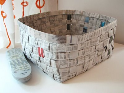 recycled paper crafts - newspaper basket