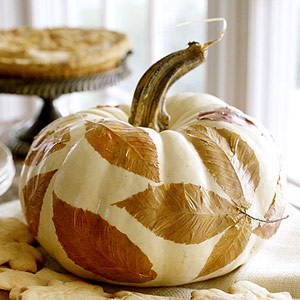 decoupaged leaf pumpkin