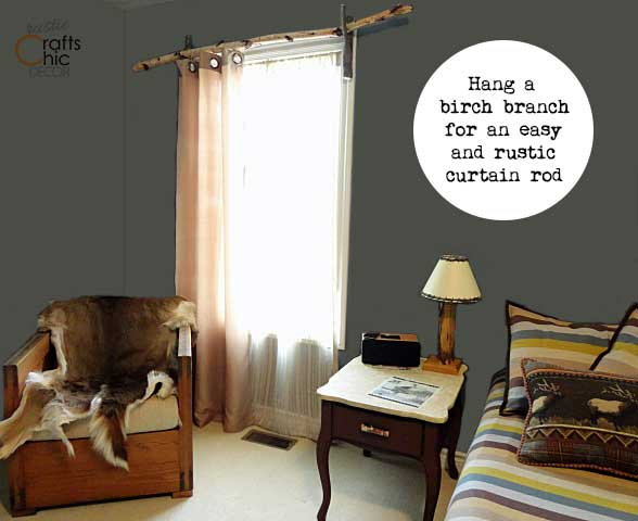 birch branch curtain rod for shabby chic decor