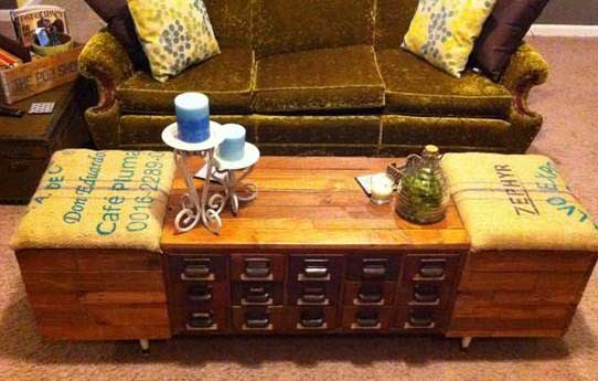 unique coffee tables from a card catalog
