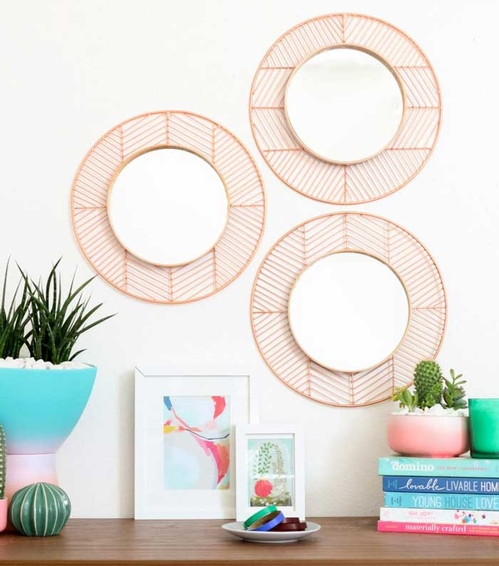 copper and wood diy mirror