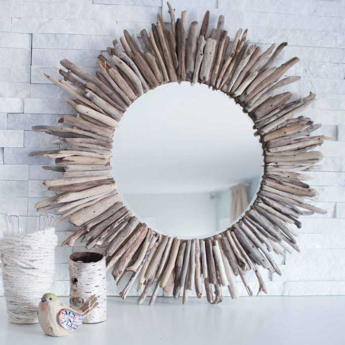 diy mirror with driftwood frame