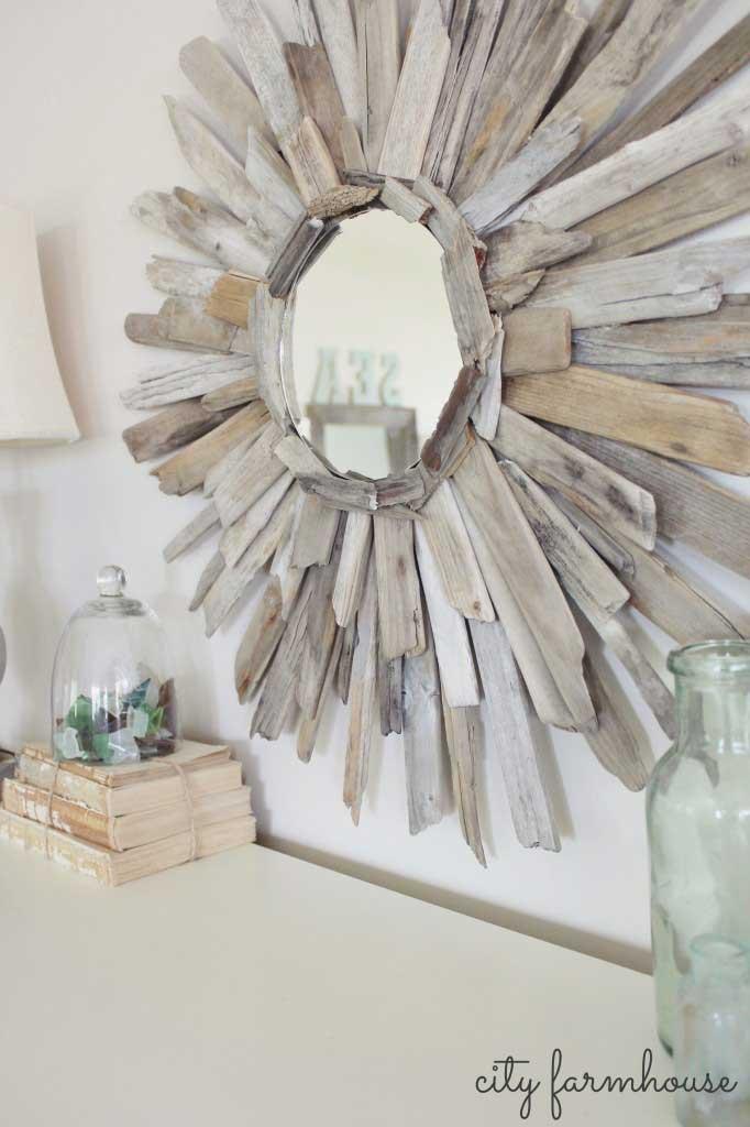 diy sunburst driftwood mirror