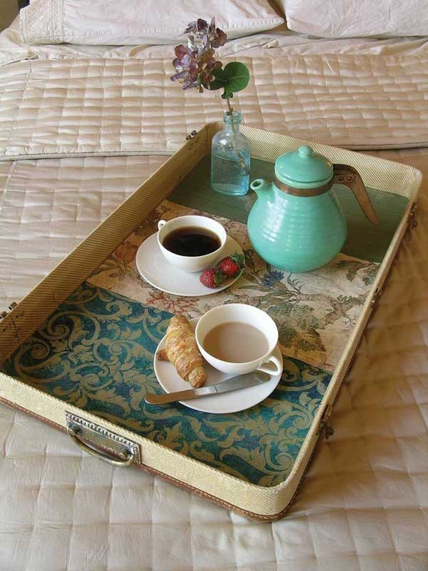 old suitcase breakfast tray