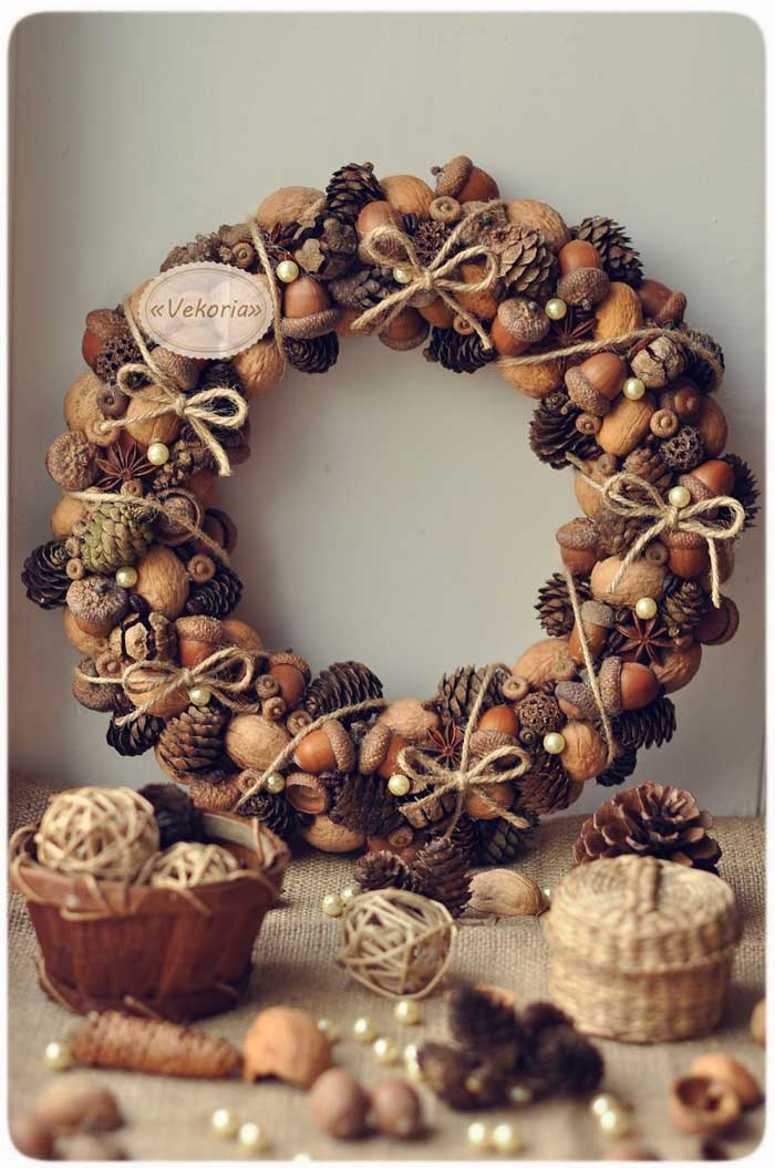 pine cone and nut wreath craft
