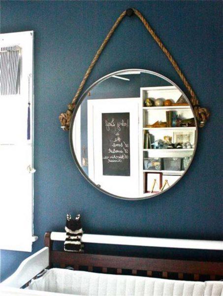 round mirror with diy rope hanger
