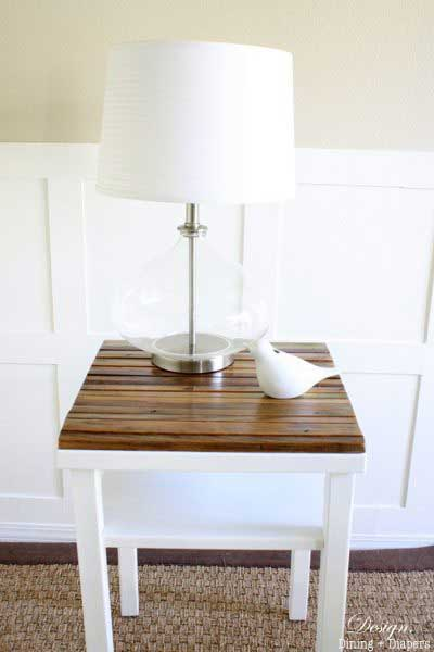 thrift store side table with salvaged wood top