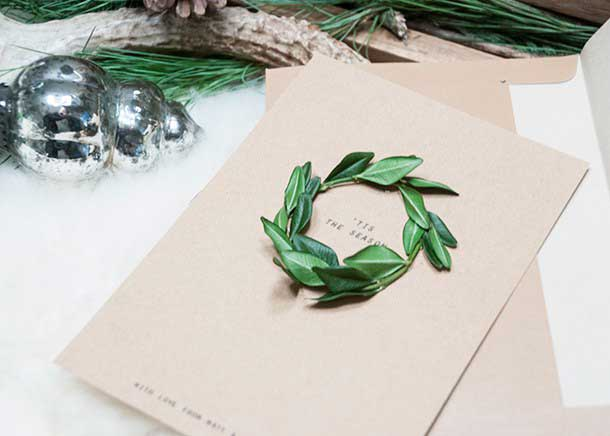 boxwood wreath DIY Christmas cards