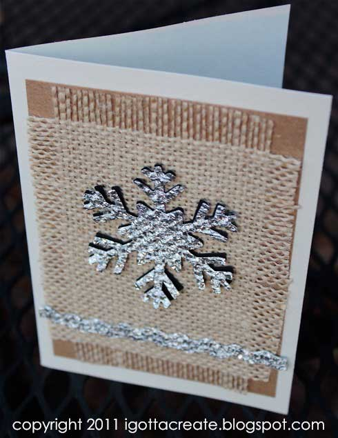 snowflake Christmas card made from burlap and tinfoil