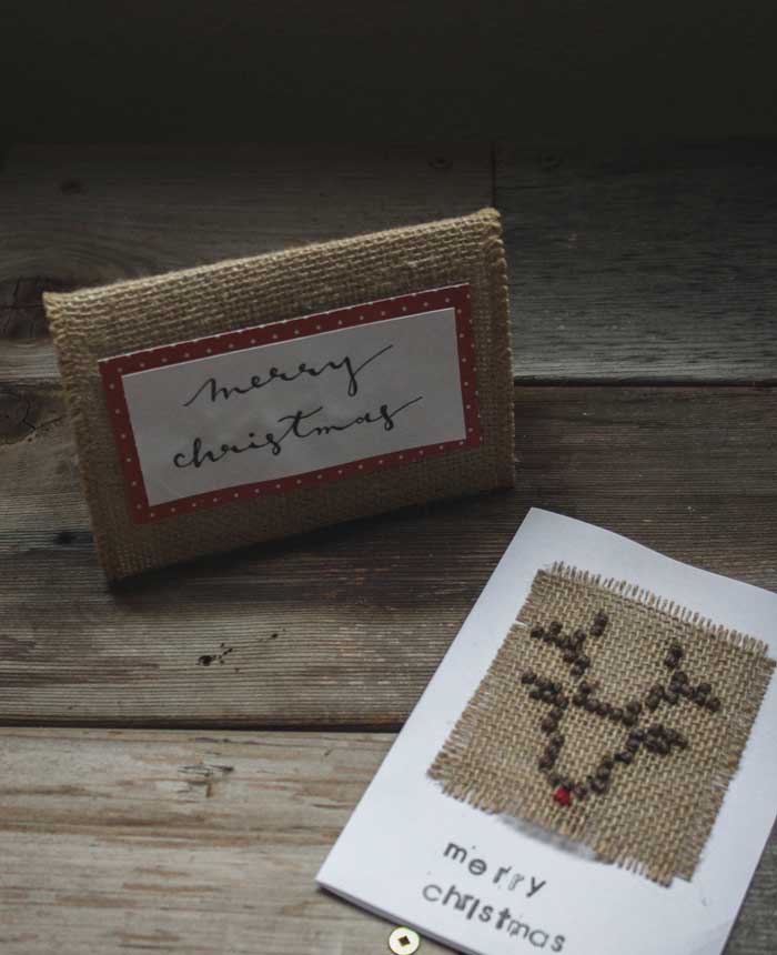 DIY Christmas card with burlap and embroidery
