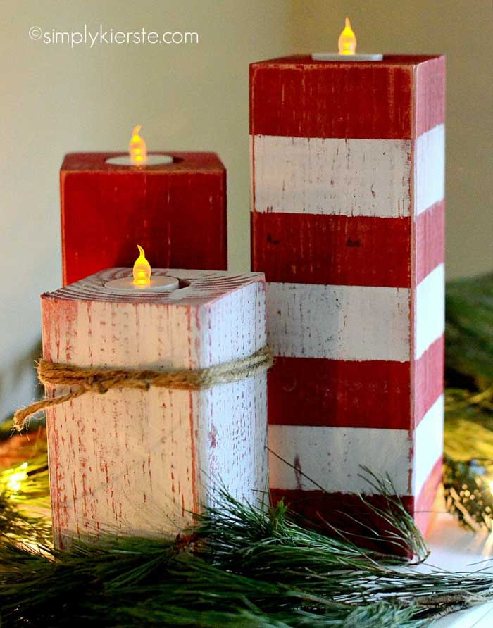 diy peppermint striped candlesticks