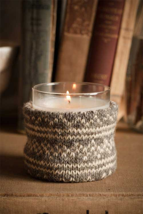 diy sweater christmas candle holder