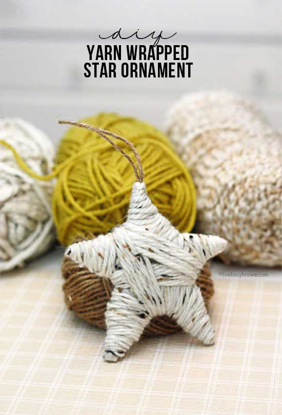 diy yarn covered star christmas ornament