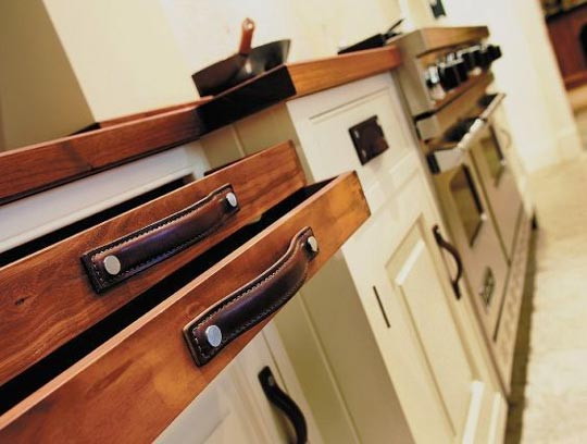 how to make cabinet pulls - leather strips