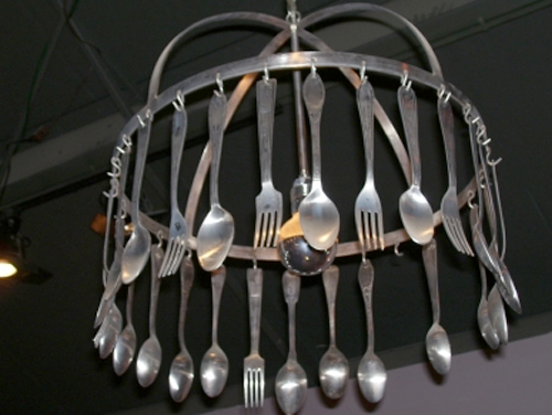 silverware crafts - silverware chandelier