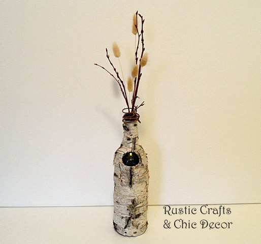 diy birch bark wine bottle