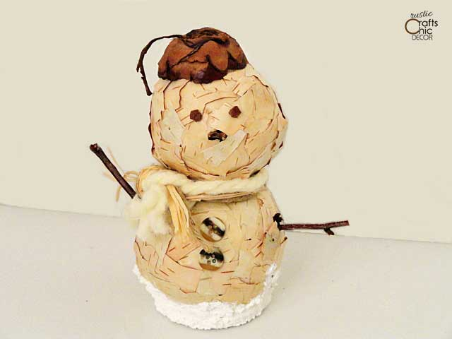 diy birch bark snowman