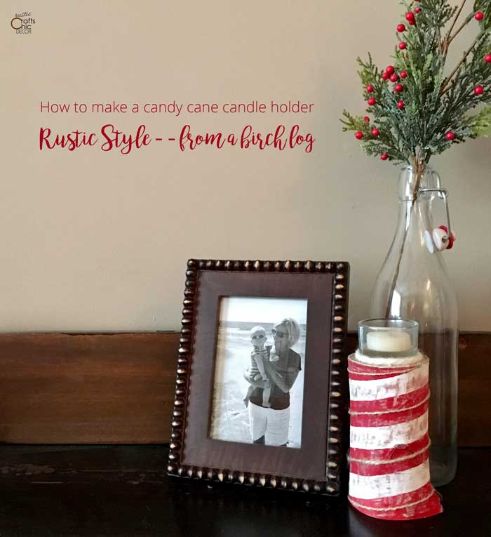 rustic candy cane candle holder craft
