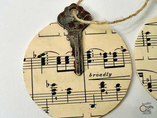 homemade vintage key Christmas ornament