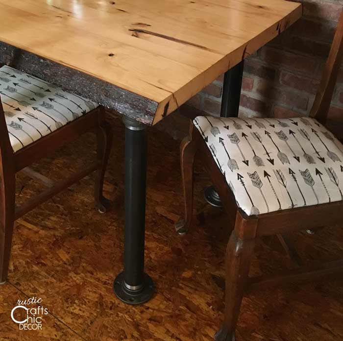 kitchen table makeover with plumbers pipe legs