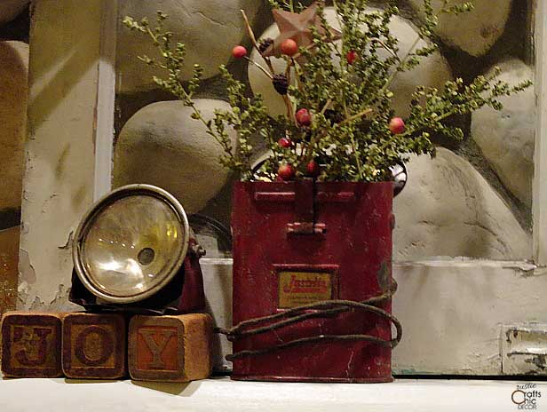 vintage red miners light with Christmas greenery
