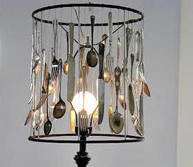 silverware crafts - lampshade made from vintage silverware