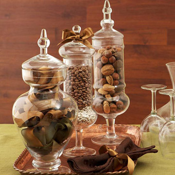 vase filler ideas - nuts and beans