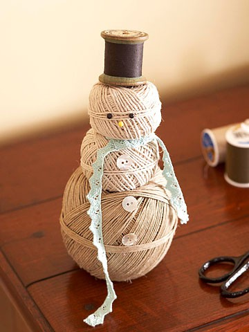 snowman made from balls of twine