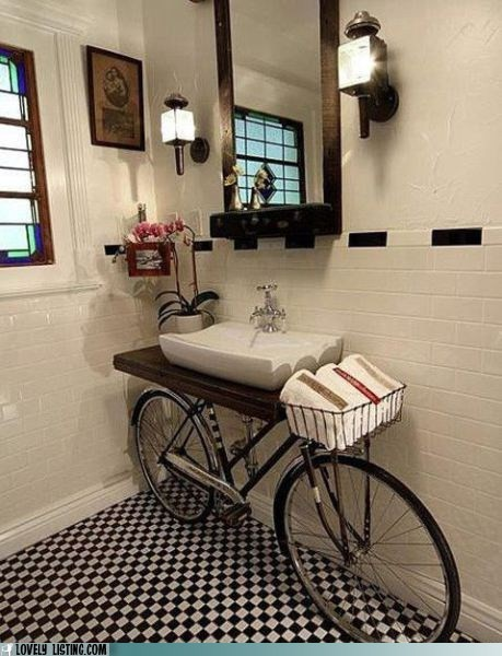 powder room ideas - a bicycle vanity
