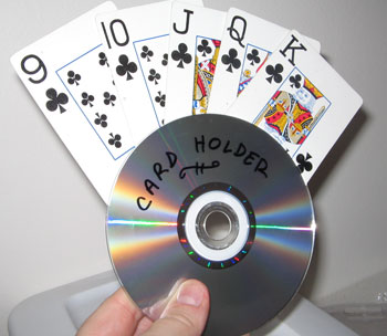 repurposed cd's into playing card holders