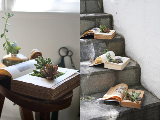 what to do with old books - diy book planter