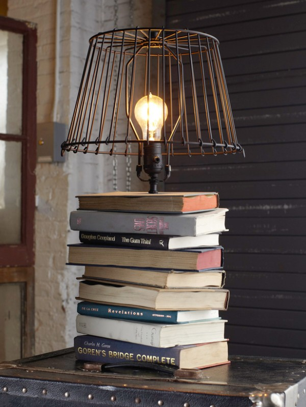 what to do with old books - stacked book lamp