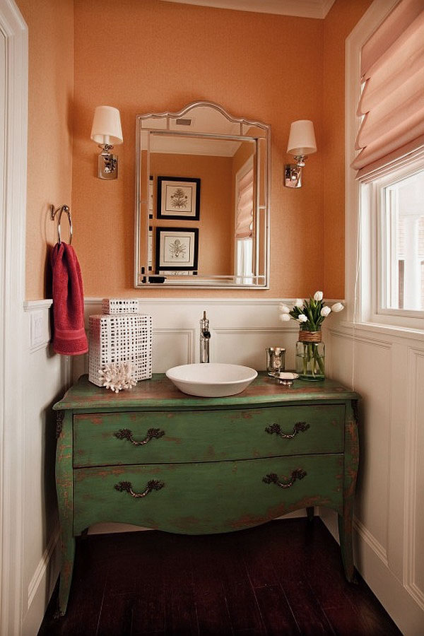 powder room ideas - a dresser vanity with color