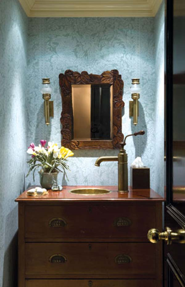 powder room ideas - a dresser for a sink vanity
