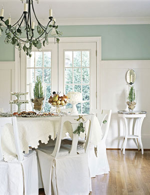 white room accented with aqua