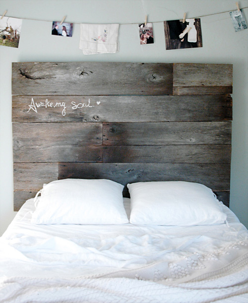 decorating with barnwood - barnwood headboard