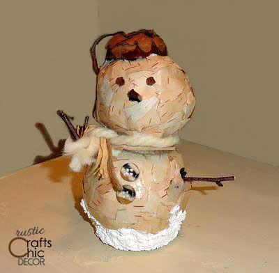 snowman crafts - birch bark snowman