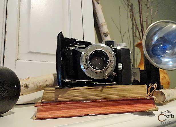 vintage camera on mantel