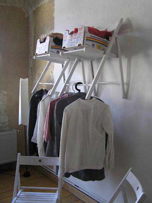 closet storage made from hanging folding chairs